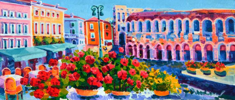 Vasi di fiori e poesia verso l'Arena
