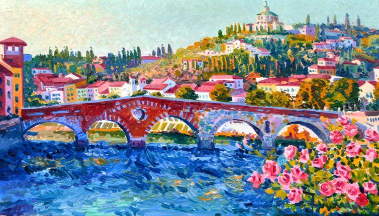 Ponte Pietra nell'ora dell'Ave Maria