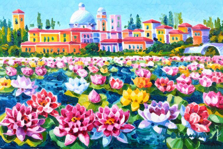 Sui laghi di Mantova il fiori di loto e luce