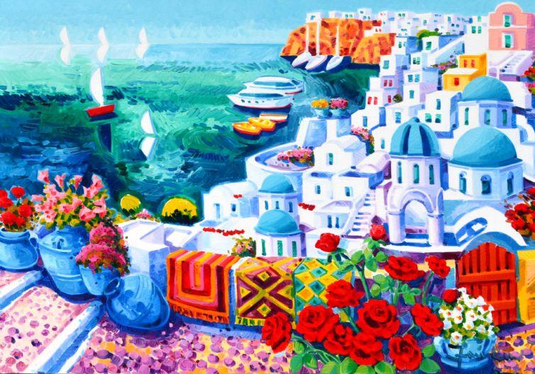 Tra le rose rosse noi e Santorini