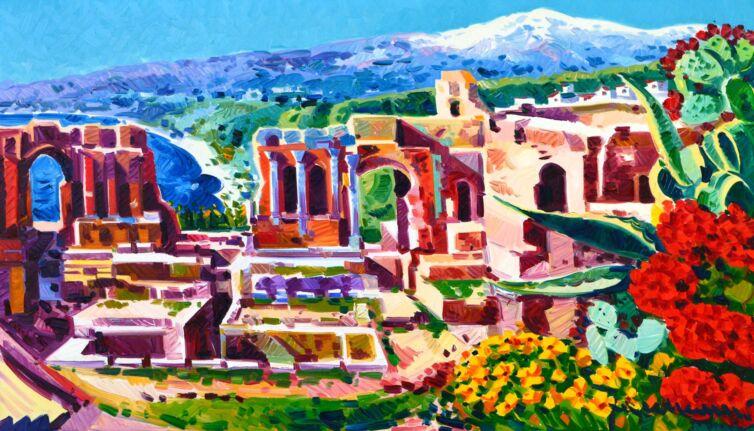Taormina con l'Etna sullo sfondo