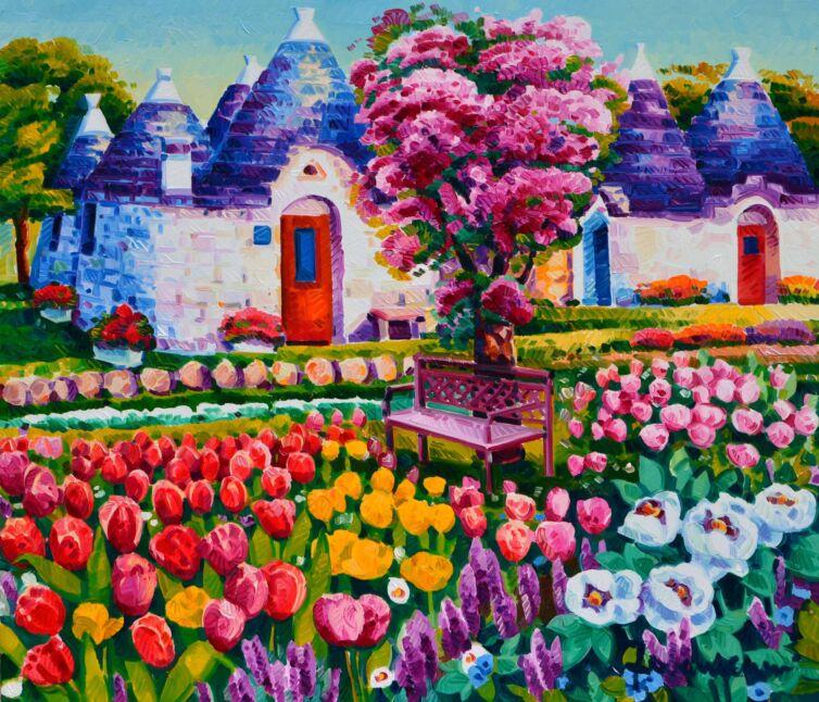 Trulli tra i tulipani e una panchina