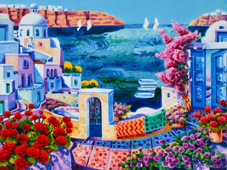 Gerani e ginestre a Santorini