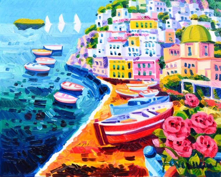 Le rose e tre vele a Positano