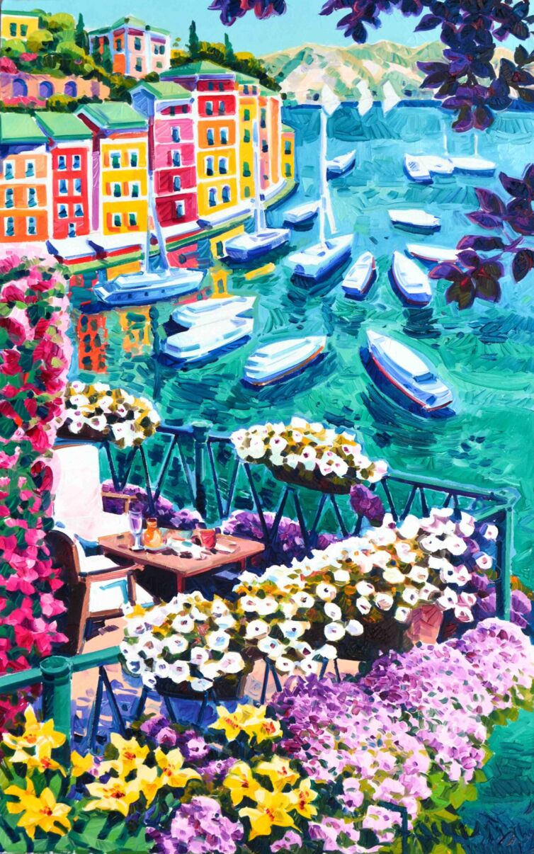 Due seggiole sul balcone fiorito a Portofino