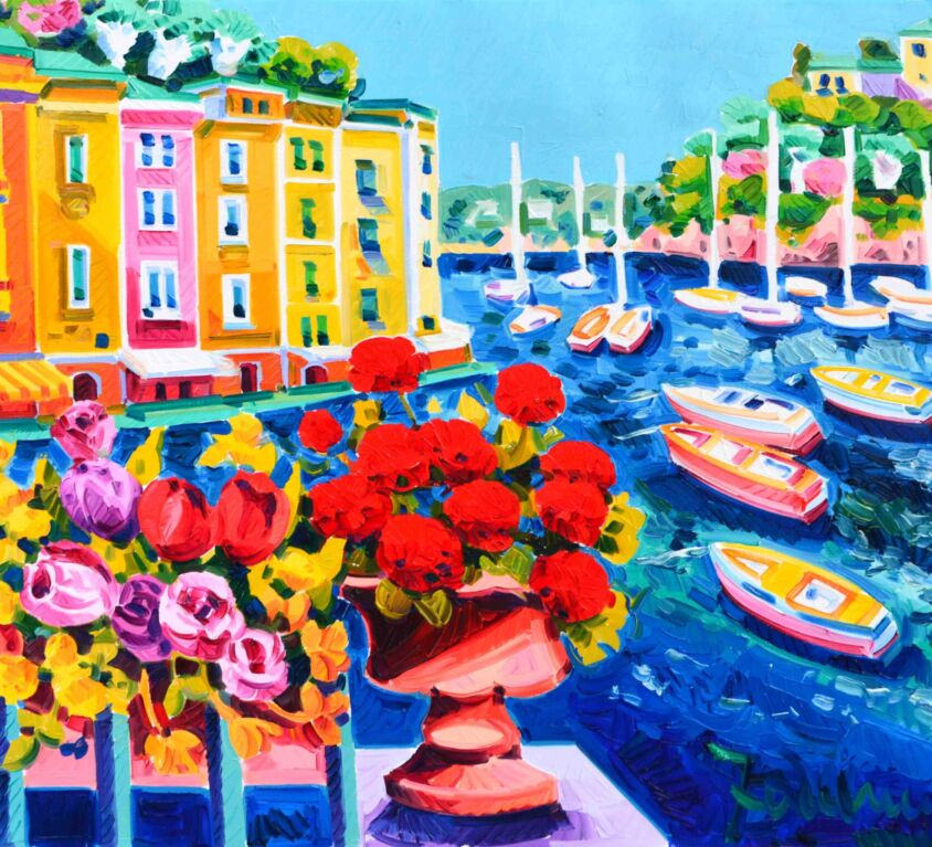 Il vaso di gerani e tanta luce a Portofino