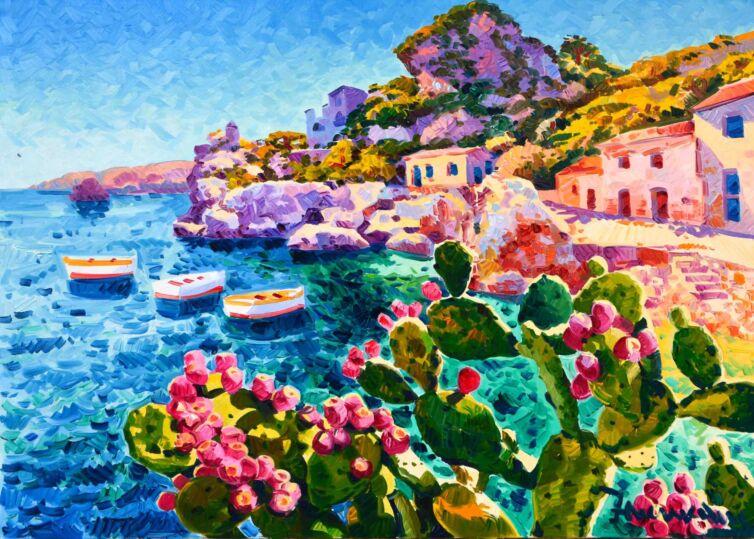 I fichi d'India e tre barche a riposo, raccontano la luce della Sicilia