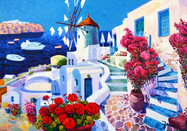 Il mulino tra i bianchi, gli azzurri e i blu di Santorini
