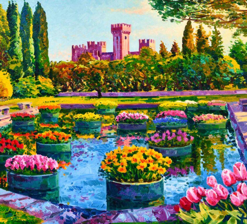 Il laghetto del parco Sigurtà con i tulipani, ammira il Castello di Valeggio