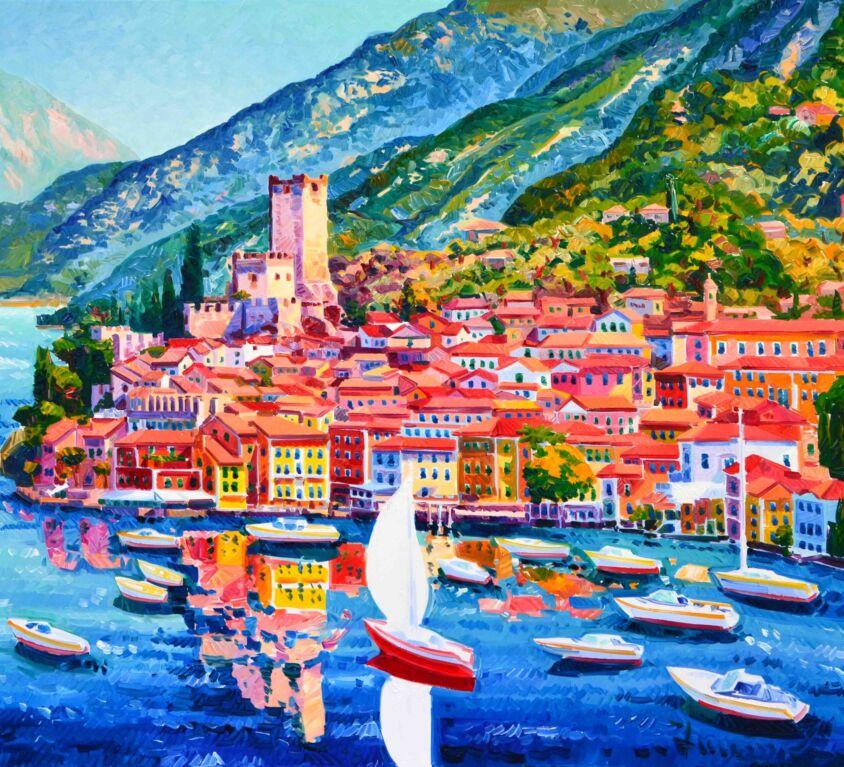 La barca rossa nella luce e nei colori di Malcesine