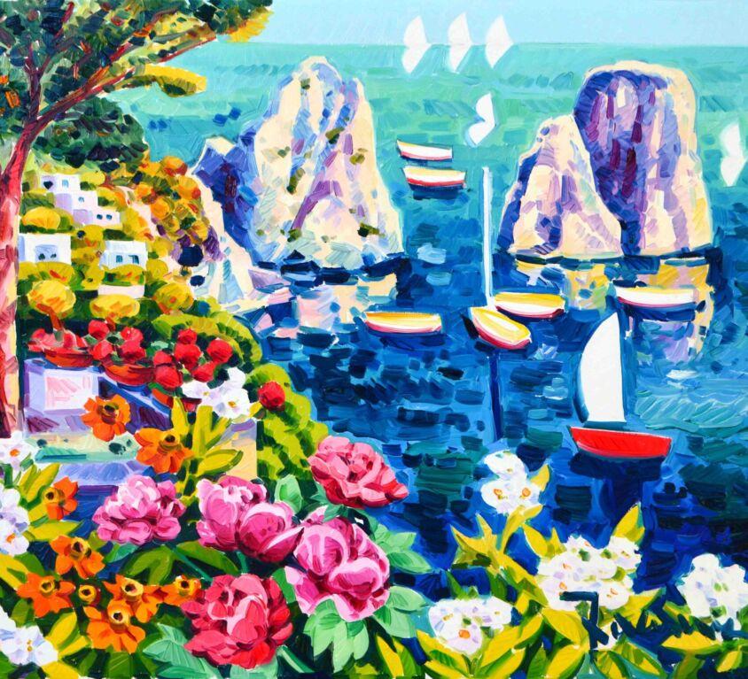 I faraglioni e sullo sfondo le tre vele