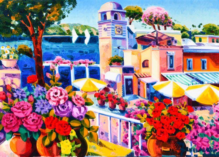 Gli ombrelloni colorati nella piazzetta di Capri