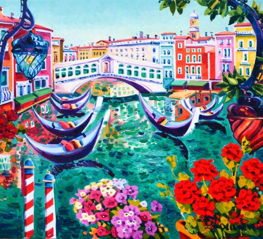 Gerani rossi e gondole nella luce di Venezia