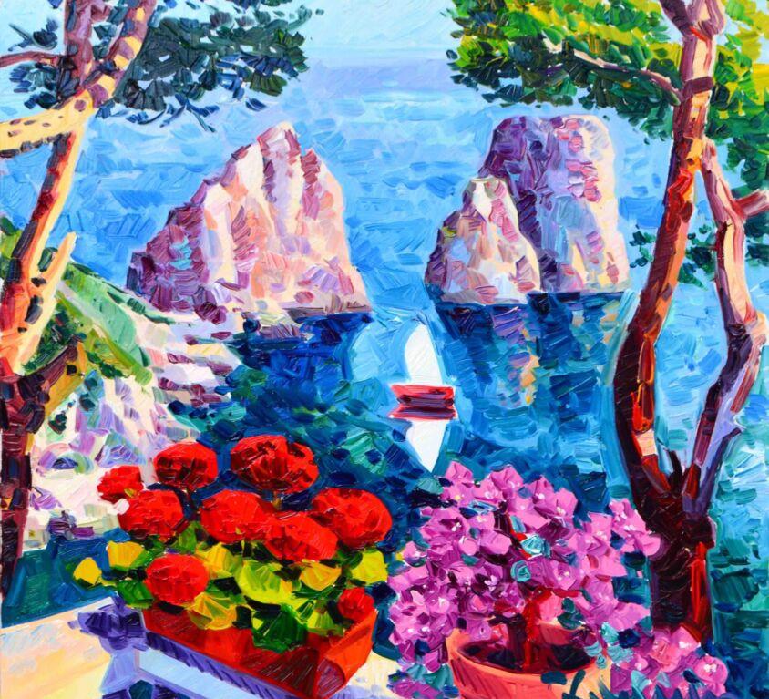 Vasi di fiori e luce sui Faraglioni
