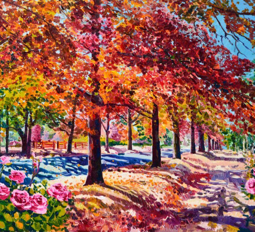 Passeggiata romantica godendo delle ultime rose d'autunno